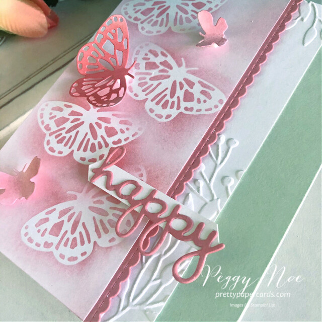 Handmade Happy Card using the Butterfly Brilliance Bundle by Stampin' Up! designed by Peggy Noe of prettypapercards.com #butterflies #butterflybrilliance #happycard #peggynoe #prettypapercards #prettypapercards.com #wellwrittendies #blending