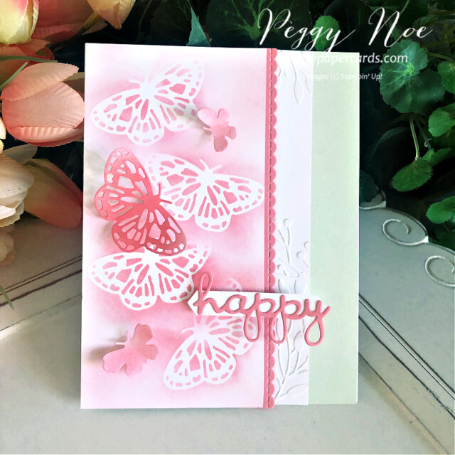 Handmade Happy Card using the Butterfly Brilliance Bundle by Stampin' Up! designed by Peggy Noe of prettypapercards.com #butterflies #butterflybrilliance #happycard #peggynoe #prettypapercards #prettypapercards.com #wellwrittendies #inkblending