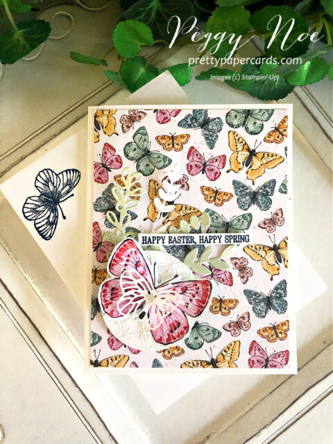 Handmade Easter card using the Butterfly Brilliance Collection by Stampin' Up! created by Peggy Noe of prettypapercards.com #butterflybrilliance #butterflybijou #stampinup #peggynoe #prettypapercards #eastercard #springcard