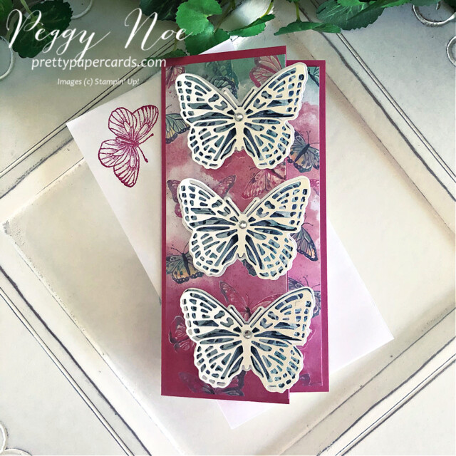 Handmade All Occasion Card using the Butterfly Brilliance Collection by Stampin' Up! and designed by Peggy Noe of Pretty Paper Cards #butterflybrilliance #butterflies #butterflybijou #peggynoe #prettyppapercards #prettypapercards.com #stampinup