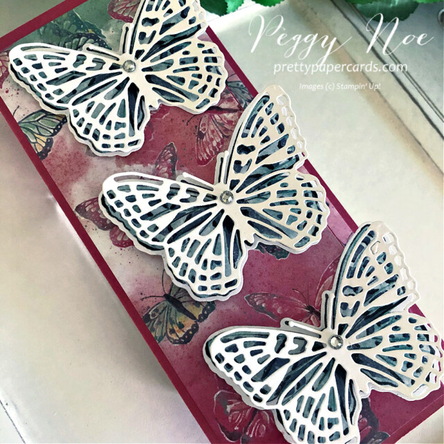 Handmade All Occasion Card using the Butterfly Brilliance Collection by Stampin' Up! and designed by Peggy Noe Pretty Paper Cards #butterflybrilliance #butterflies #butterflybijou #peggynoe #prettyppapercards #prettypapercards.com