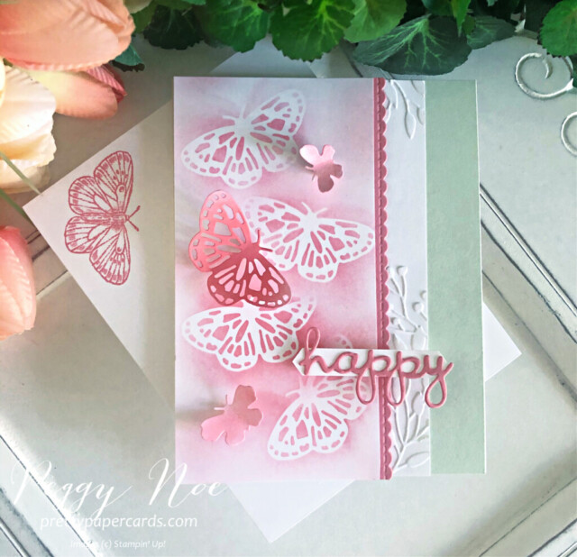 Handmade Happy Card using the Butterfly Brilliance Bundle by Stampin' Up! designed by Peggy Noe of prettypapercards.com #butterflies #butterflybrilliance #happycard #peggynoe #prettypapercards #prettypapercards.com #wellwrittendies #blendingbrush