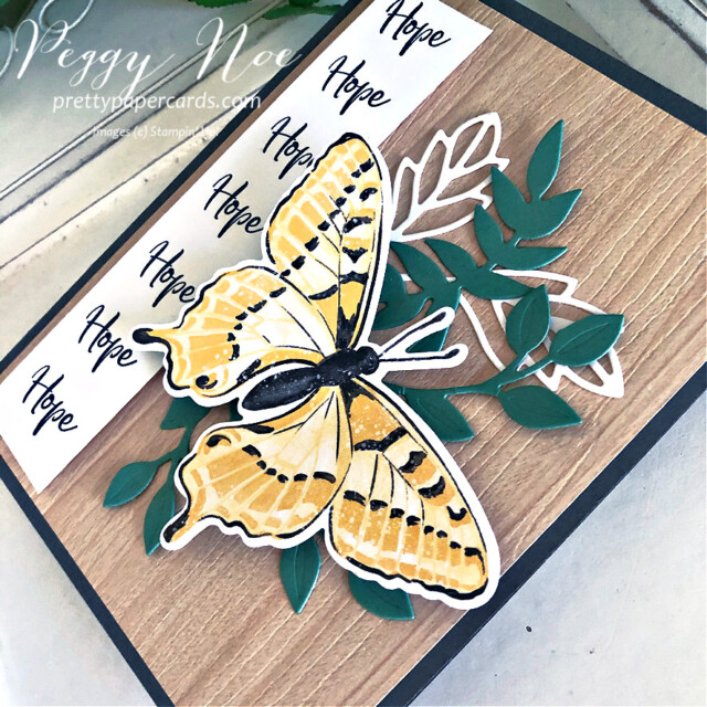 Handmade Card using Butterfly Brilliance and Touch of Ink stamp sets by Stampin' Up! created by Peggy Noe of Pretty Paper Cards #butterflies #touchofink #butterflybrilliance #stampinup #prettypapercards #peggynoe