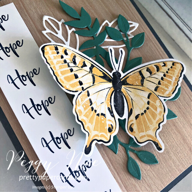 Handmade Card using Butterfly Brilliance and Touch of Ink stamp sets by Stampin' Up! created by Peggy Noe of Pretty Paper Cards #touchofink #butterflybrilliance #hopecard #stampinup #peggynoe #prettypapercards