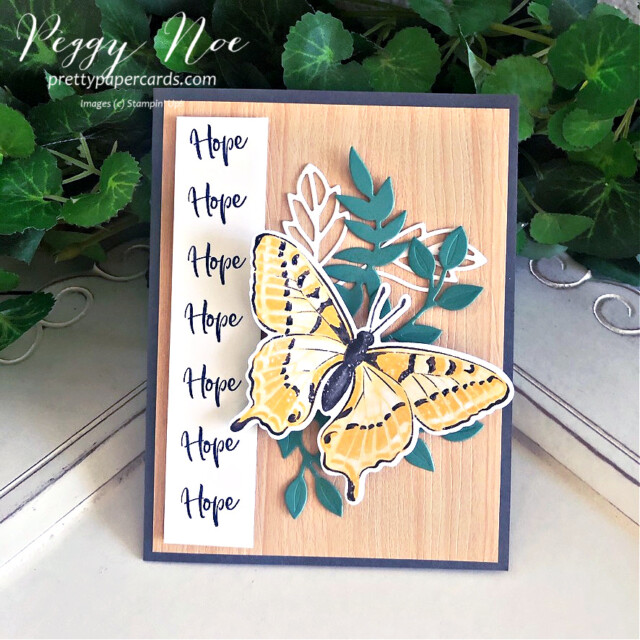 Handmade Card using Butterfly Brilliance and Touch of Ink stamp sets by Stampin' Up! created by Peggy Noe of Pretty Paper Cards #touchofink #butterflybrilliance #stampinup #prettypapercards #peggynoe