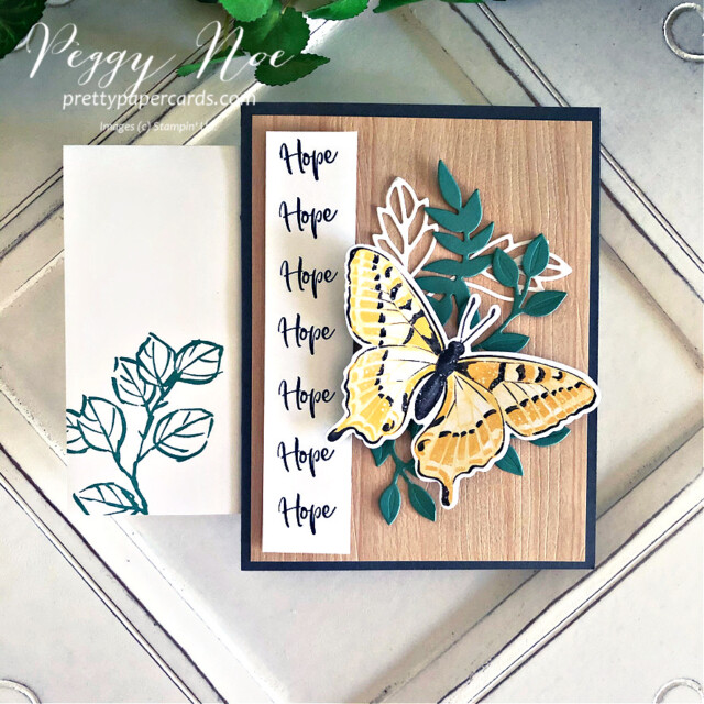 Handmade Card using Butterfly Brilliance and Touch of Ink stamp sets by Stampin' Up! created by Peggy Noe of Pretty Paper Cards #touchofink #butterflybrilliance #stampinup #peggynoe #prettypapercards