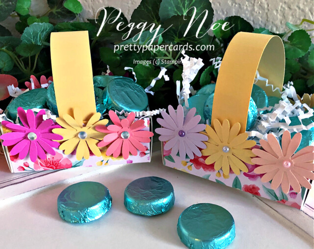 Handmade Paper Daisy Spring Basket using Stampin' Up! products created by Peggy Noe of prettypapercards.com #easterbasket #easter #basket #daisies #daisypunch