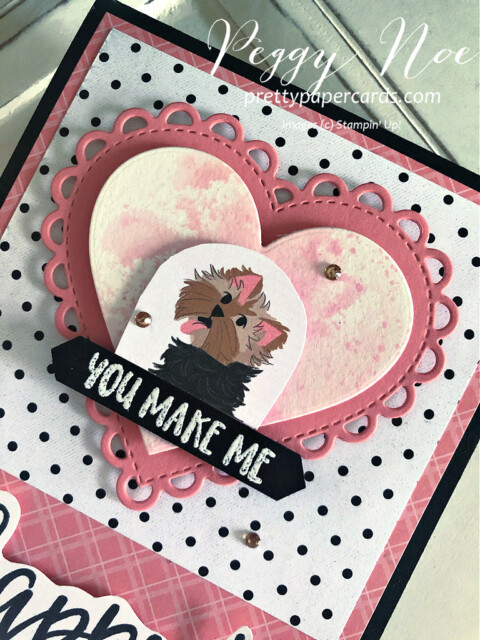 Handmade dog card created with the Pampered Pets Paper by Stampin' Up! designed by Peggy Noe of Pretty Paper Cards #pamperedpets #dogcard #petcard #stampinup #peggynoe