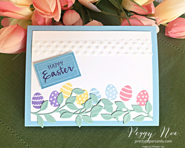 Handmade Easter Egg Card Using the Arrange a Wreath Bundle by Stampin' Up! created by Peggy Noe of prettypapercards.com #eastercard #eastereggcard #arrangeawreath #stampinup #stampingup #peggynoe #prettypapercards