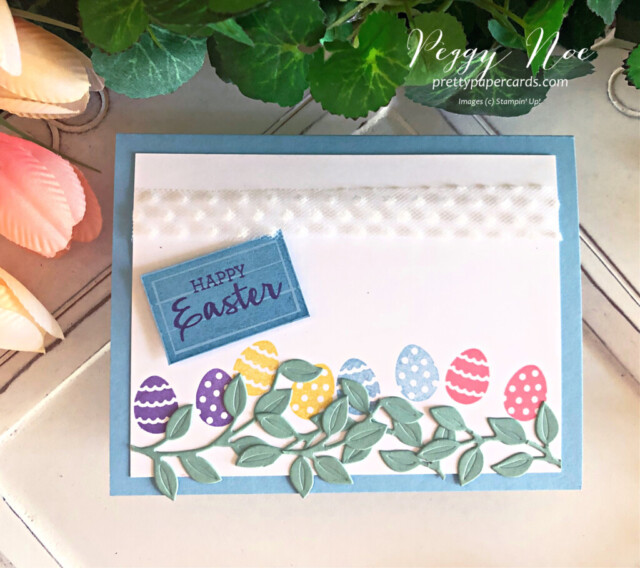 Handmade Easter Egg Card Using the Arrange a Wreath Bundle by Stampin' Up! created by Peggy Noe of prettypapercards.com #eastercard #eastereggcard #arrangeawreath #stampinup #peggynoe #prettypapercards
