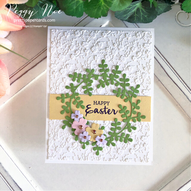 Handmade Easter Egg Card Using the Arrange a Wreath Bundle by Stampin' Up! created by Peggy Noe of prettypapercards.com #eastercard #easterwreath #easterwreathcard #arrangeawreath #stampinup #stampingup #peggynoe #prettypapercards