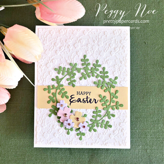 Handmade Easter Egg Card Using the Arrange a Wreath Bundle by Stampin' Up! created by Peggy Noe of prettypapercards.com #eastercard #easterwreathcard #arrangeawreath #stampinup #peggynoe #prettypapercards