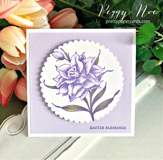 Handmade Easter Card using the Flowering Blooms Stamp Set by Stampin' Up! created by Peggy Noe prettypapercards.com #eastercard #floweringblooms #squarecard #stampinup #peggynoe #prettypapercards