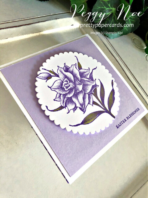 Handmade Easter Card using the Flowering Blooms Stamp Set by Stampin' Up! created by Peggy Noe of prettypapercards.com #eastercard #floweringblooms #squarecard #stampinup #stampingup #peggynoe #prettypapercards