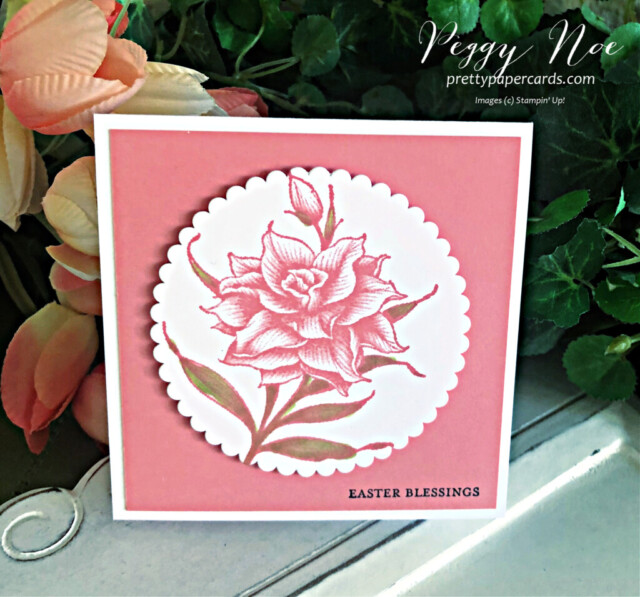 Handmade Easter Card using the Flowering Blooms Stamp Set by Stampin' Up! created by Peggy Noe of prettypapercards.com #eastercard #floweringblooms #squarecard #stampinup #stampingup #peggynoe #prettypapercards #floraleastercard