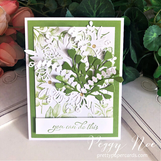 Handmade card using the Forever Fern Bundle by Stampin' Up! designed by Peggy Noe of prettypapercards.com #foreverfern #foreverfernbundle #floralheartdies #greenbouquet #stampinup #stampingup #peggynoe #prettypapercards #encouragementcard