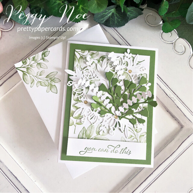 Handmade card using the Forever Fern Bundle by Stampin' Up! designed by Peggy Noe of prettypapercards.com #foreverfern #foreverfernbundle #floralheartdies #greenbouquet #stampinup #stampingup #peggynoe #prettypapercards