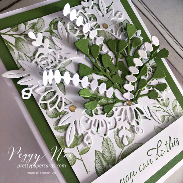 Handmade card using the Forever Fern Bundle by Stampin' Up! designed by Peggy Noe of prettypapercards.com #foreverfern #foreverfernbundle #floralheartdies #fernbouquet #greenbouquet #stampinup #stampingup #peggynoe #prettypapercards