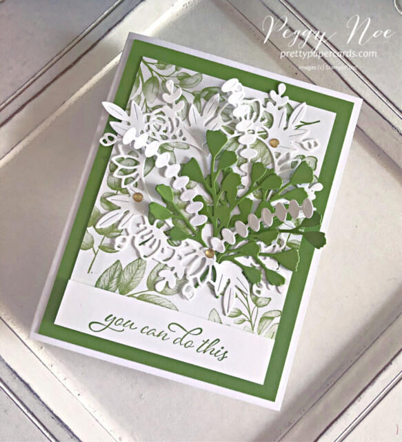 Handmade card using the Forever Fern Bundle by Stampin' Up! designed by Peggy Noe of prettypapercards.com #foreverfern #foreverfernbundle #floralheartdies #greenbouquet #stampinup #stampinupdemo #stampingup #peggynoe #prettypapercards #encouragementcard