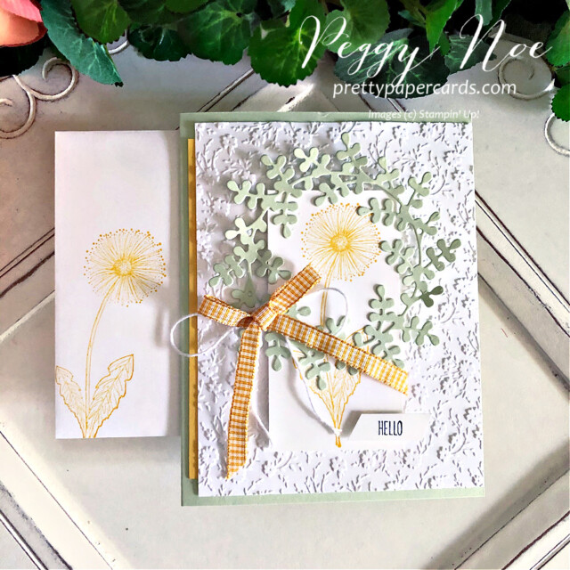 """Handmade """"Hello"""" card using Garden Wishes Stamp Set by Stampin' Up! created by Peggy Noe Pretty Paper Cards #gardenwishes #wreathbuilderdies #hellocard #stampinup #peggynoe #prettypapercards"""
