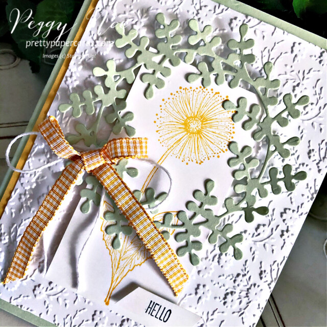 """Handmade """"Hello"""" card using the Garden Wishes Stamp Set by Stampin' Up! created by Peggy Noe of Pretty Paper Cards #gardenwishes #wreathbuilderdies #hellocard #stampinup #stampingup #peggynoe #prettypapercards"""