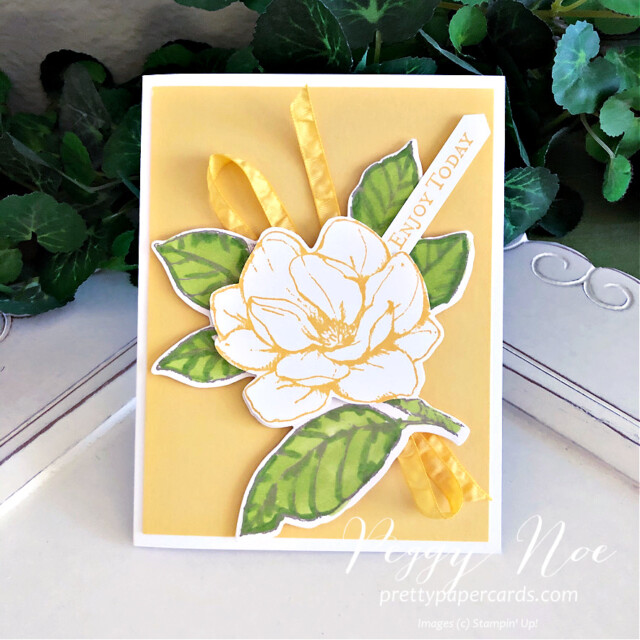 Handmade card using the Good Morning Magnolia stamp set by Stampin' Up! created by Peggy Noe of prettypapercards.com #goodmorningmagnolia #magnoliamemorydies #stampinblends #stampinup #peggynoe #prettypapercards
