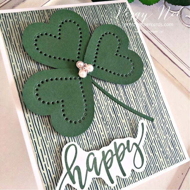 Handmade St. Patrick's Day Shamrock Card with Heart Shamrock using Stampin' Up! products created by Peggy Noe Pretty Paper Cards #shamrockcard #stpatricksdaycard #peggynoe