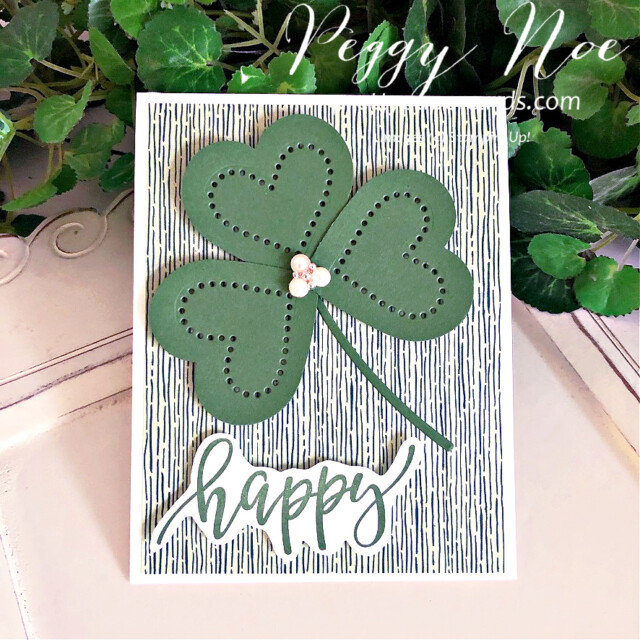 Handmade St. Patrick's Day Shamrock Card with Heart Shamrock using Stampin' Up! products created by Peggy Noe Pretty Paper Cards #shamrockcard #stpatricksdaycard #peggynoe #prettypapercards