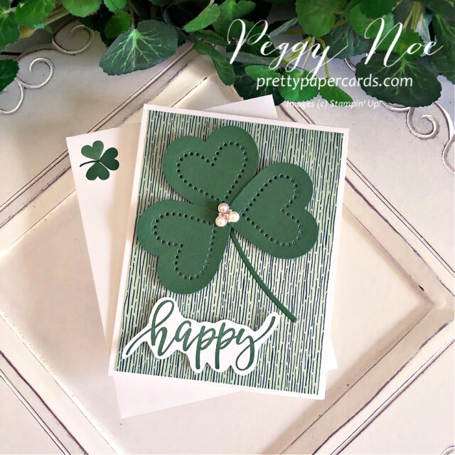 Handmade St. Patrick's Day Card with Heart Shamrock using Stampin' Up! products created by Peggy Noe of Pretty Paper Cards #shamrockcard #stpatricksdaycard #peggynoe #prettypapercards