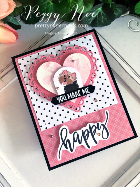 Handmade dog card created with Pampered Pets Paper by Stampin' Up! designed by Peggy Noe of Pretty Paper Cards #pamperedpets #dogcard #petcard #stampinup #peggynoe #prettypapercards