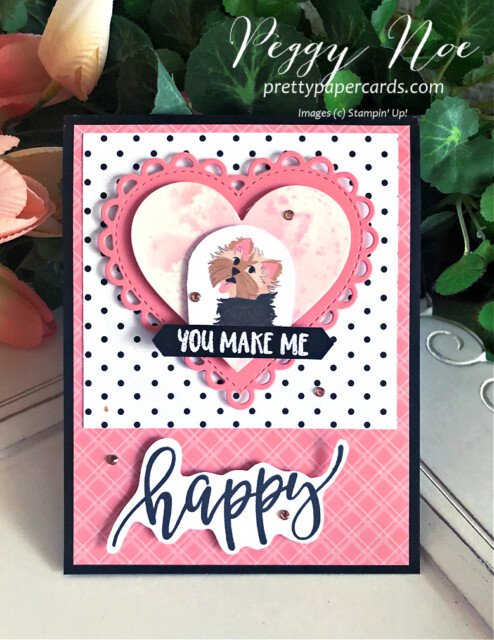 Handmade dog card created with the Pampered Pets Paper by Stampin' Up! designed by Peggy Noe of Pretty Paper Cards #pamperedpets #dogcard #petcard #stampinup #peggynoe #prettypapercards #prettypapercards.com
