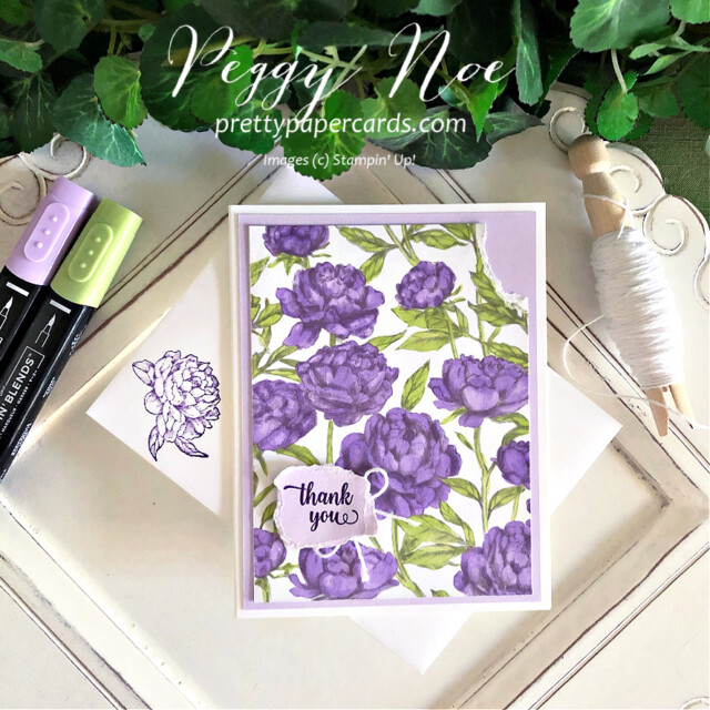 Handmade Thank You Card made with the Peony Garden Paper by Stampin' Up! created by Peggy Noe of Pretty Paper Cards #peggynoe #prettypapercards #peonygarden #floweringblooms #thankyou #thankyoucard #tornpaper
