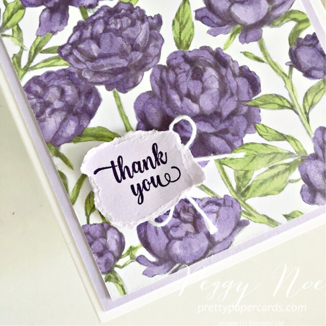 Handmade Thank You Card made with the Peony Garden Paper by Stampin' Up! created Peggy Noe prettypapercards.com #peggynoe #prettypapercards #peonygarden #floweringblooms #thankyou #thankyoucard