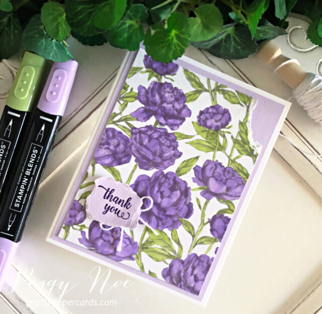 Handmade Thank You Card made with the Peony Garden Paper by Stampin' Up! created by Peggy Noe prettypapercards.com #peggynoe #prettypapercards #peonygarden #floweringblooms #thankyou #thankyoucard