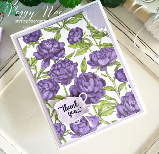 Handmade Thank You Card made with the Peony Garden Paper by Stampin' Up! created by Peggy Noe of Pretty Paper Cards #peggynoe #prettypapercards #peonygarden #floweringblooms #thankyou #thankyoucard