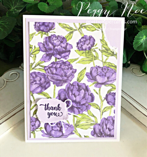 Handmade Thank You Card made with the Peony Garden Paper by Stampin' Up! created by Peggy Noe of prettypapercards.com #peggynoe #prettypapercards #peonygarden #floweringblooms #thankyou #thankyoucard