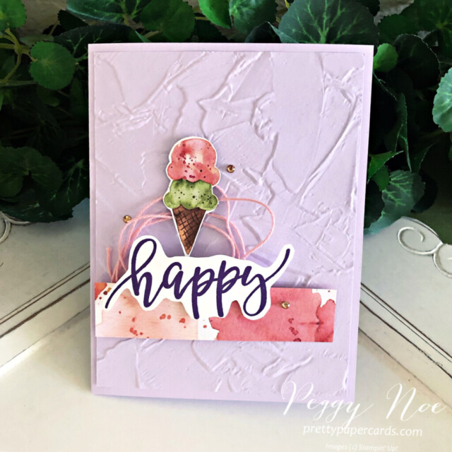 Handmade birthday card made with the Pretty Perennials stamp set and the Ice Cream Corner Paper by Stampin' Up! created by Peggy Noe prettypapercards.com #icecreamcorner #icecreamconebirthdaycard #stampinup #stampingup #peggynoe #prettypapercards #icecreamcone #birthdaycard