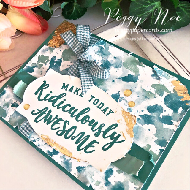 Handmade birthday card using the Ridiculously Awesome Stamp Set and Butterfly Bijou Paper by Stampin' Up! created by Peggy Noe of Pretty Paper Cards #ridiculouslyawesome #stampinup #stampingup #prettypapercards #peggynoe #gildedleafing