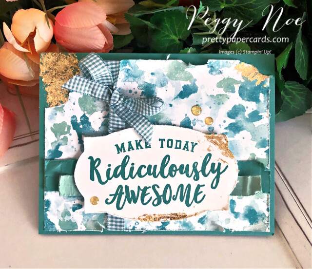 Handmade birthday card using the Ridiculously Awesome Stamp Set and Butterfly Bijou Paper by Stampin' Up! created by Peggy Noe of Pretty Paper Cards #ridiculouslyawesome #butterflybijou #stampinup #stampingup #prettypapercards #peggynoe #birthdaycard #gildedleafing