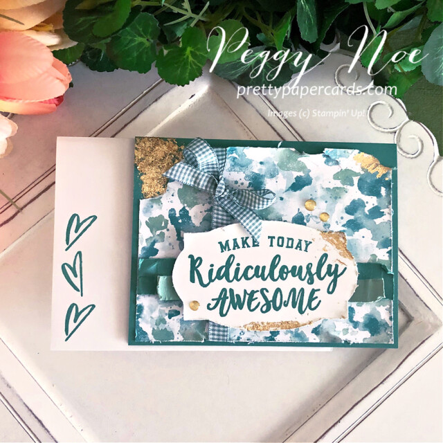 Handmade birthday card using the Ridiculously Awesome Stamp Set and Butterfly Bijou Paper by Stampin' Up! created by Peggy Noe of Pretty Paper Cards #ridiculouslyawesome #stampinup #stampingup #prettypapercards #peggynoe #birthdaycard #gildedleafing