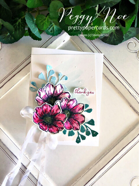 Handmade Thank You card using the True Love Designer Series Paper by Stampin' Up! created by Peggy Noe of prettypapercards.com #stampinup #truelove #truelovedsp #peggynoe #prettypapercards #foreverflourishing