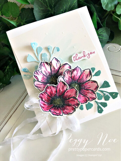 Handmade Thank You card using the True Love Designer Series Paper by Stampin' Up! created by Peggy Noe of prettypapercards.com #stampinup #truelove #truelovedsp #peggynoe #prettypapercards #foreverflourishingdies
