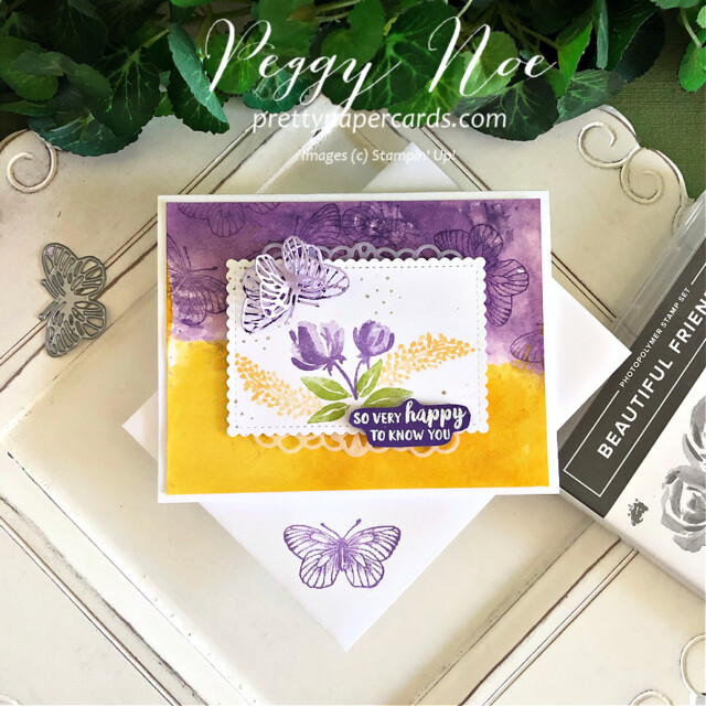 Handmade friend card using the Beautiful Friendship stamp set by Stampin' Up! by Peggy Noe of prettypapercards.com #beautifulfriendship #stampinup #stampingup #peggynoe #prettypapercards #watercoloredcard #butterflywingsdies #paperbutterflies