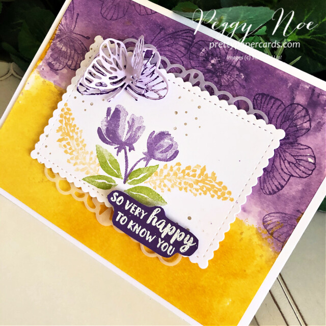 Handmade friend card using the Beautiful Friendship stamp set by Stampin' Up! by Peggy Noe of prettypapercards.com #beautifulfriendshipstampset #beautifulfriendship #stampinup #stampingup #peggynoe #prettypapercards #watercoloredcard #butterflywingsdies #butterflycard #paperbutterflies