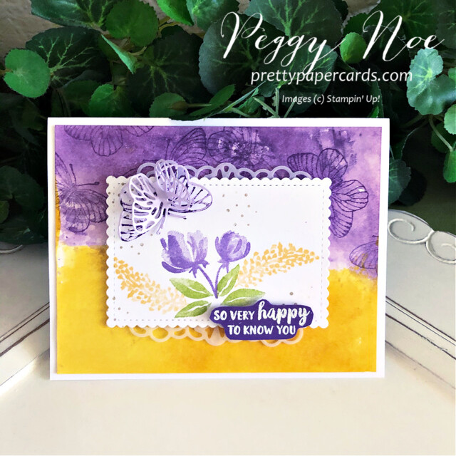Handmade friend card using the Beautiful Friendship stamp set by Stampin' Up! by Peggy Noe of prettypapercards.com #beautifulfriendship #stampinup #stampingup #peggynoe #prettypapercards #watercoloredcard #butterflywingsdies #butterflycard #paperbutterflies