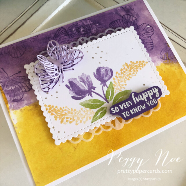 Handmade friend card using the Beautiful Friendship stamp set by Stampin' Up! by Peggy Noe of prettypapercards.com #beautifulfriendship #stampinup #stampingup #peggynoe #prettypapercards #watercoloredcard #butterflywingsdies #butterflycard
