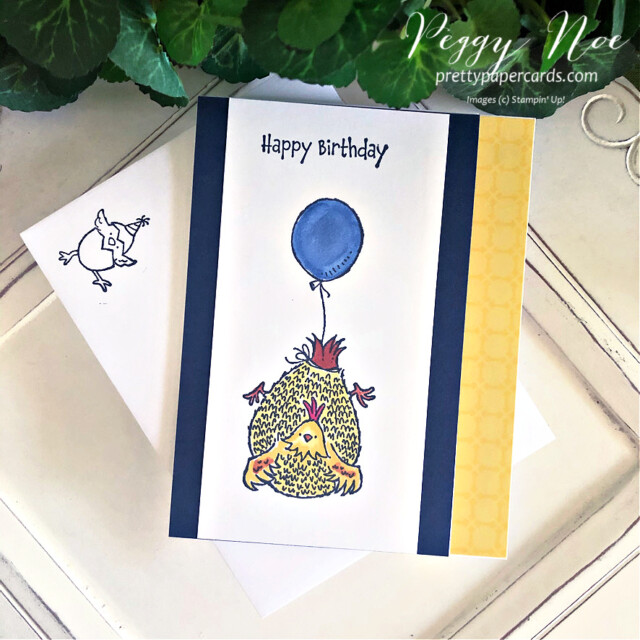 Handmade Birthday Card using the Hey, Birthday Chick Stamp Set by Stampin' Up! and created by Peggy Noe of prettypapercards.com #heybirthdaychick #birthdaycard #chickencard #chickcard #stampinup #stampingup #peggynoe #prettypapercards #chickandballoon #chickcard