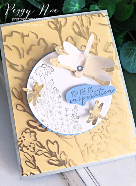 Handmade card using the Dragonfly Garden Bundle by Stampin' Up! created by Peggy Noe of Pretty Paper Cards #dragonflycard #dragonflygarden #dragonflypunch #stampinup #peggynoe #prettypapercards