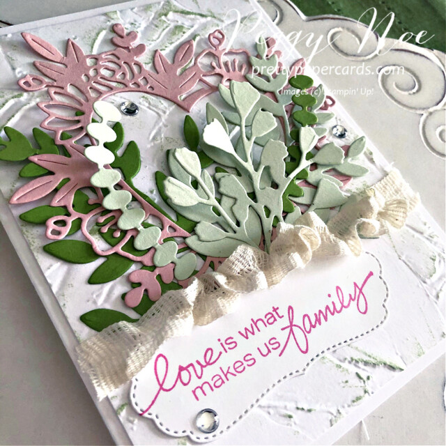 Handmade card Love Makes Us Family Card using Stampin' Up! Lovely You stamp set by Peggy Noe of prettypapercards.com #lovelyyoustampset #foreverflourishingdies #floralheartdies #stampinup #peggynoe #prettypapercards
