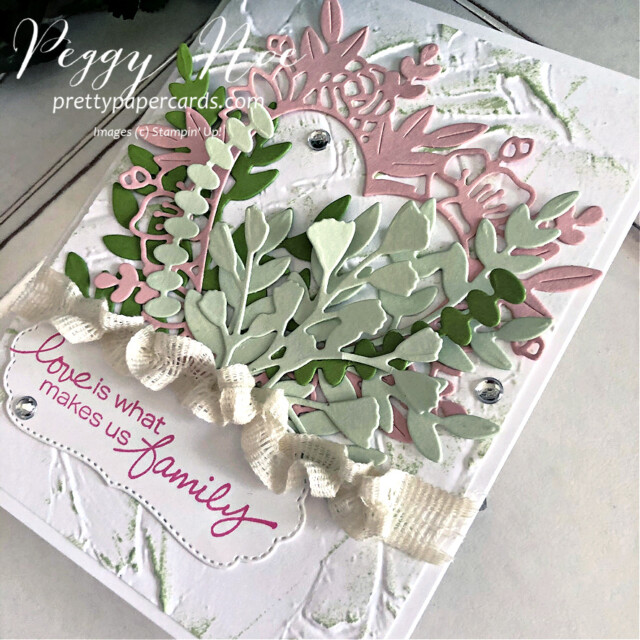 Handmade card Love Makes Us Family Card using Stampin' Up! Lovely You stamp set by Peggy Noe prettypapercards.com #lovelyyoustampset #floralheartdies #stampinup #peggynoe #prettypapercards